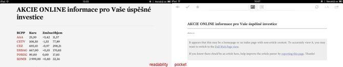 porovnání aplikace readability pocket zobrazení tabulky