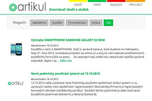 srovnávač zboží a katalog stránek arikul.cz