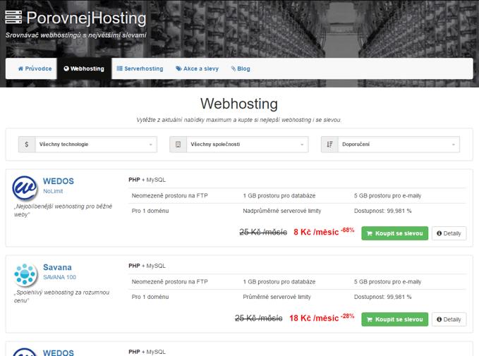 porovnání webhostingů