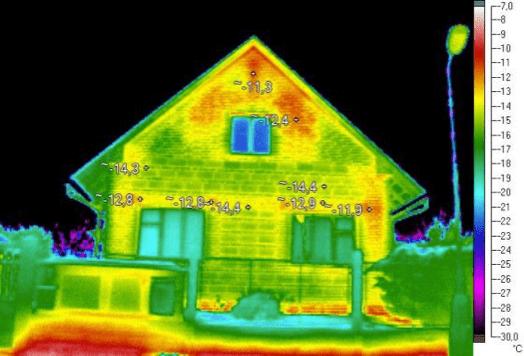 Termosnímek, únik tepla, dům