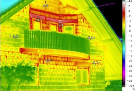 Termosnímek, únik tepla, dům měření