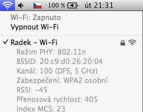 systémová utilita přehled parametrů wifi sítě